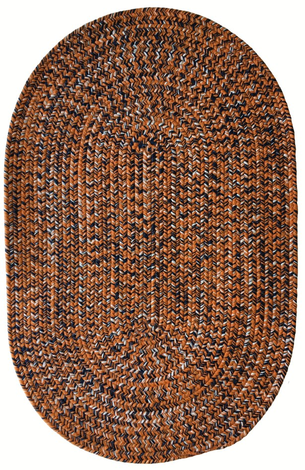 One-of-a-Kind Aukerman Hand-Braided Orange/Navy Indoor/Outdoor Area Rug Rug Size: Oval 3' x 5'