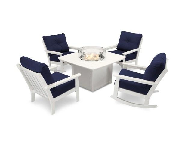 Vineyard 5 Piece Sunbrella Complete Patio Set Cushion Color: Navy, Frame Finish: White