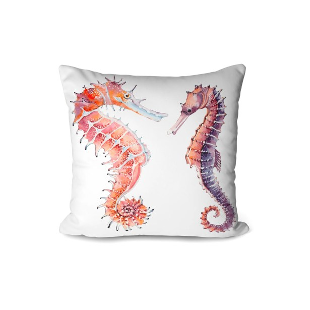 Augusta 2 Seahorse Indoor/Outdoor Throw Pillow (Set of 2) Color: White