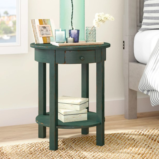 Beauford 1 Drawer End Table Color: Blue