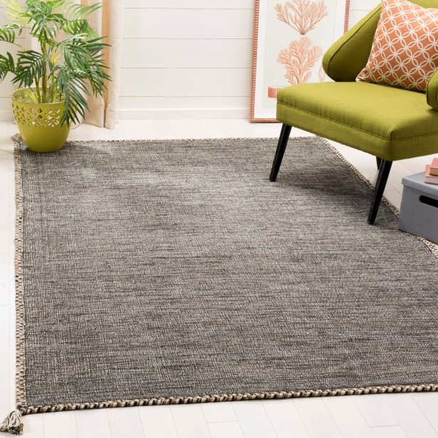 Naveen Handwoven Cotton Beige/Black Area Rug Rug Size: Rectangle 8' x 10'