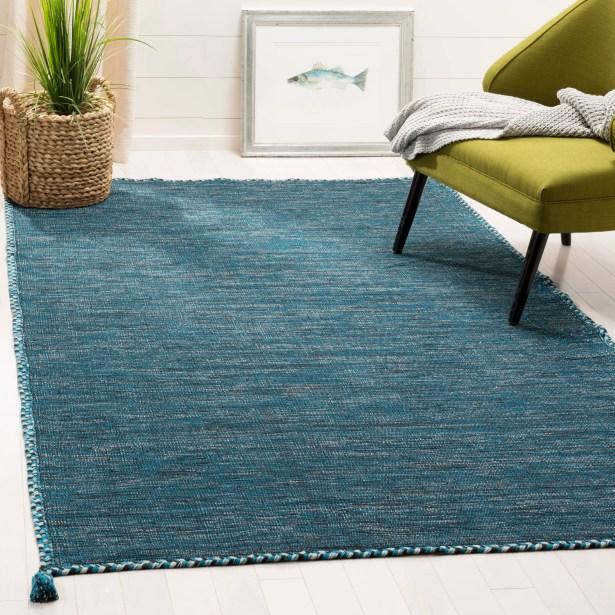 Naveen Handwoven Cotton Blue/Black Area Rug Rug Size: Rectangle 8' x 10'