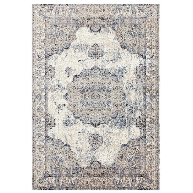 Cartwright Traditional Ivory/Blue Area Rug Rug Size: Rectangle 7'10