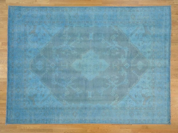 One-of-a-Kind Bearer Overdyed Handwoven Blue Wool Area Rug