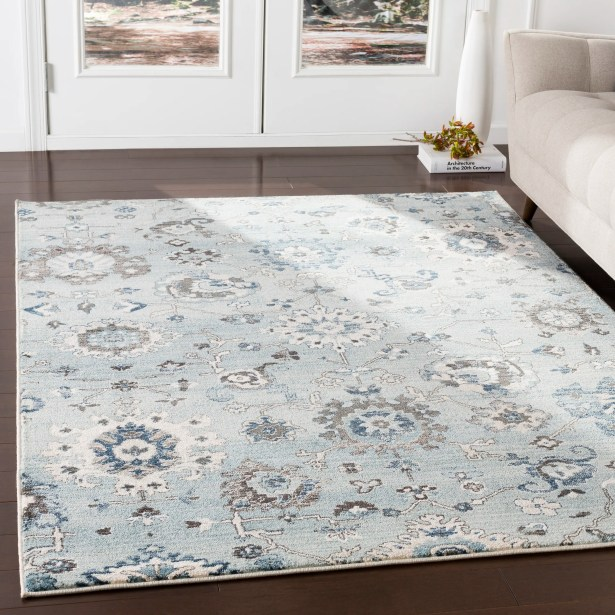 Laguna Distressed Floral Gray/Teal Area Rug Rug Size: Rectangle 5'1