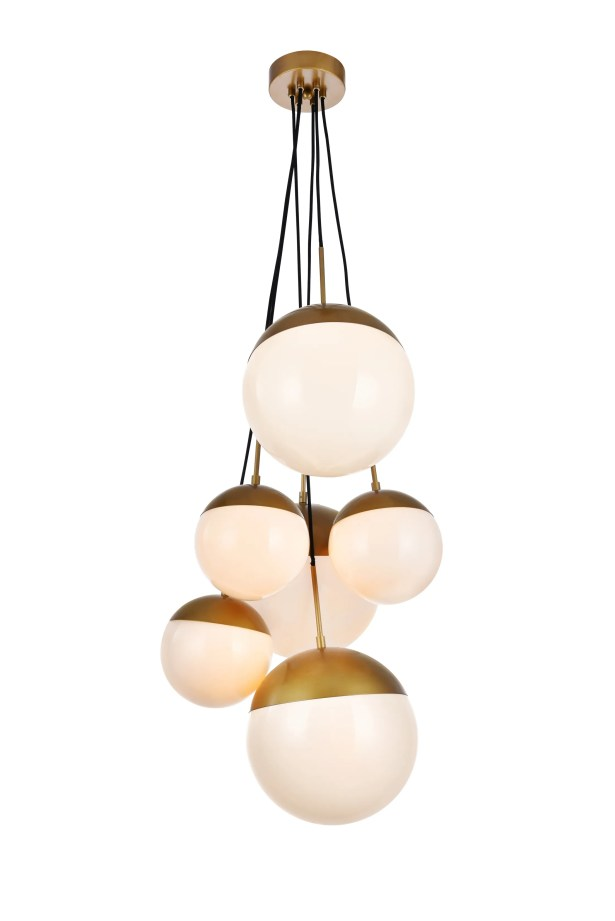 Gilberto 6-Light Cluster Pendant Finish: Brass, Shade Color/Pattern: Frosted White