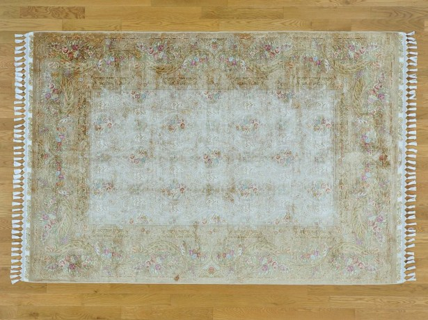 One-of-a-Kind Ben Esfahan Hand-Knotted Beige Silk Area Rug
