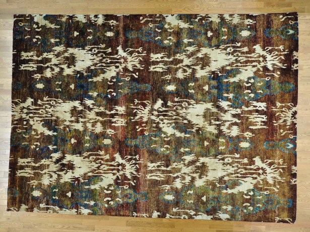 One-of-a-Kind Beatrix Uzbek Design Hand-Knotted Silk Area Rug