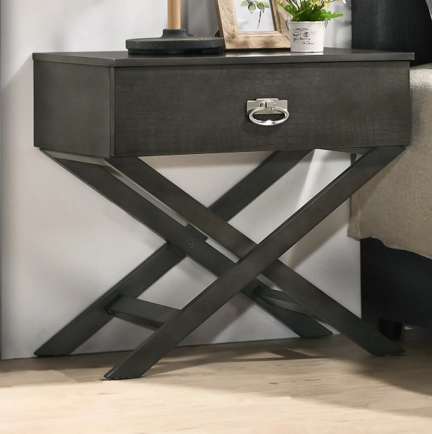 Trista 1 Drawer Nightstand Color: Gray