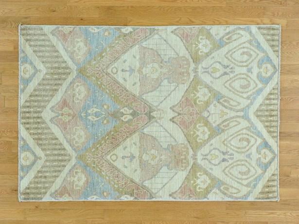 One-of-a-Kind Claflin Ikat Uzbek Design Hand-Knotted Wool Area Rug