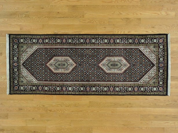 One-of-a-Kind Beaton Bidjar Hand-Knotted Black Wool/Silk Area Rug