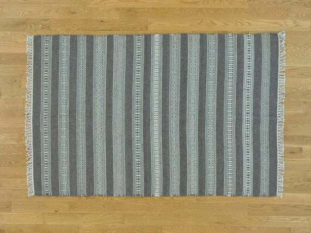 One-of-a-Kind Bessey Striped Handmade Kilim Grey Wool Area Rug