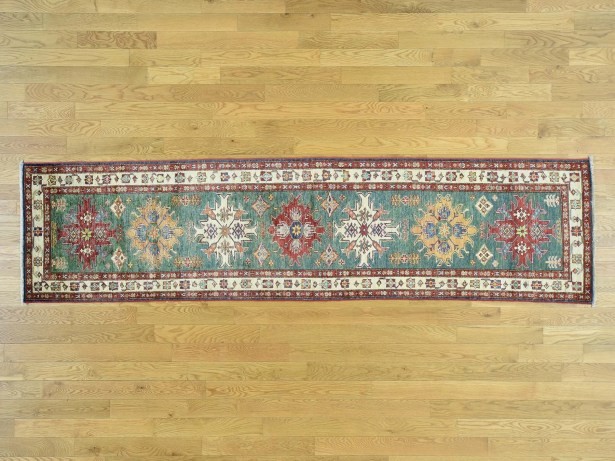 One-of-a-Kind Bechtold Geometric Design Handwoven Green Wool Area Rug