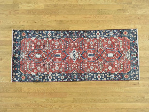One-of-a-Kind Beare Antiqued All Over Design Handwoven Red Wool Area Rug