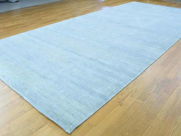 One-of-a-Kind Betances Grass Design Handwoven Blue Wool/Silk Area Rug