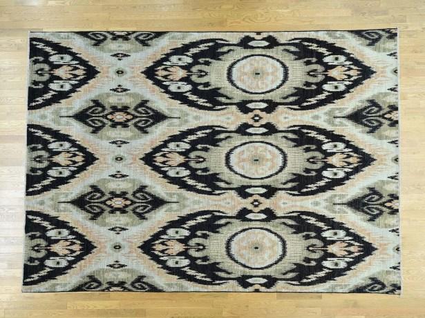 One-of-a-Kind Christopher Ikat Uzbek Design Handwoven Wool Area Rug