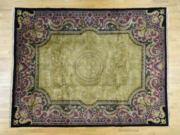 One-of-a-Kind Beverly European Design Handwoven Yellow Wool Area Rug