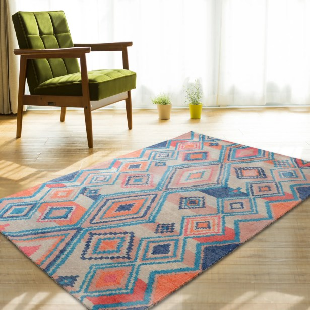 Nala Blue/Orange Area Rug Rug Size: Rectangle 7'6