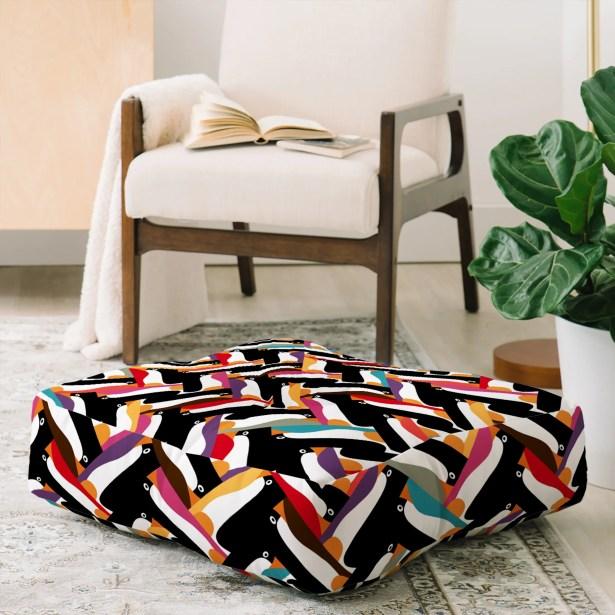 Sharon Turner Herringbone Penguin Floor Pillow