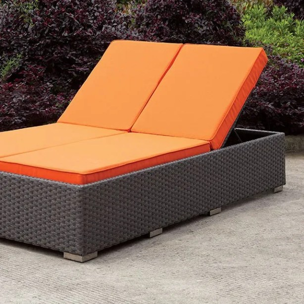 Percy Double Reclining Chaise Lounge with Cushion