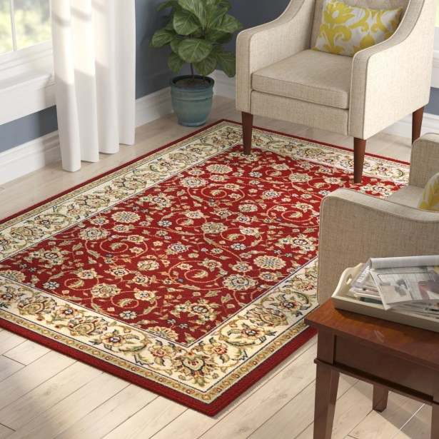 Silvera Red/Ivory Area Rug Rug Size: Rectangle 5'3