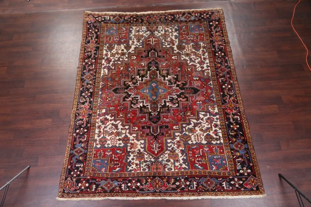 One-of-a-Kind Traditional Geometric Tribal Heriz Persian Hand-Knotted 7'5