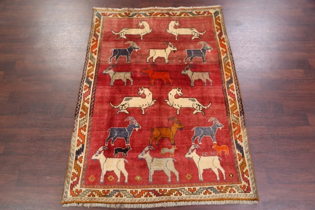 One-of-a-Kind Martinelli Traditional Animal Pictorial Tribal Gabbeh Shiraz Persian Hand-Knotted 4'11