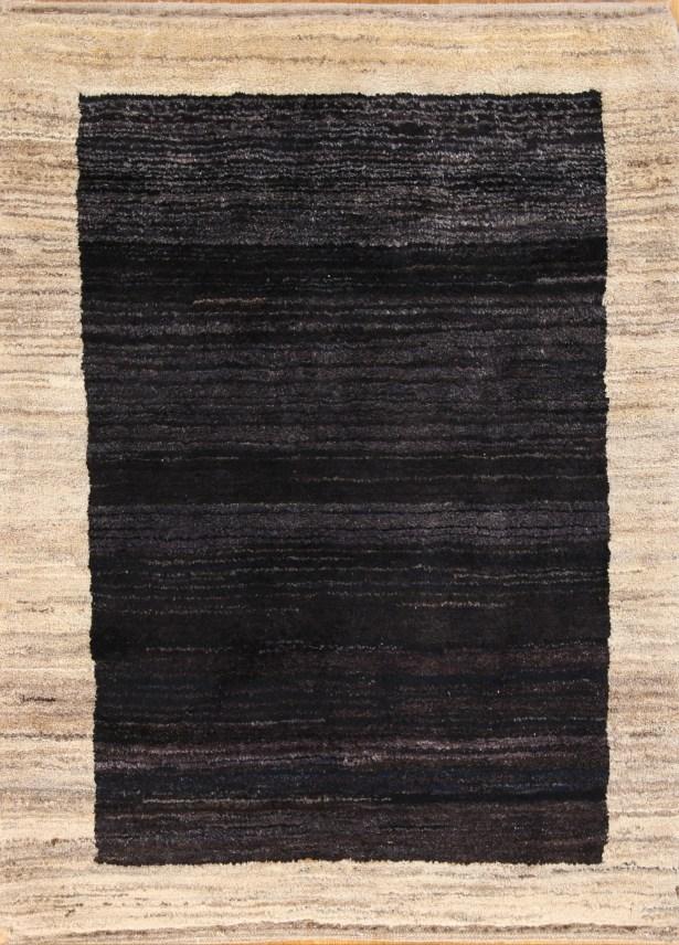 One-of-a-Kind Nekoosa Modern Gabbeh Zolanvari Shiraz Persian Hand-Knotted 3' x 4' Wool Navy Blue/Beige Area Rug