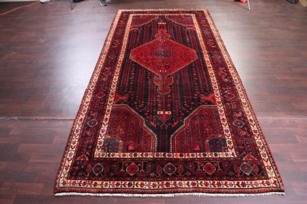 One-of-a-Kind Geometric Tribal Malayer Hamedan Vintage Persian Hand-Knotted 5'4