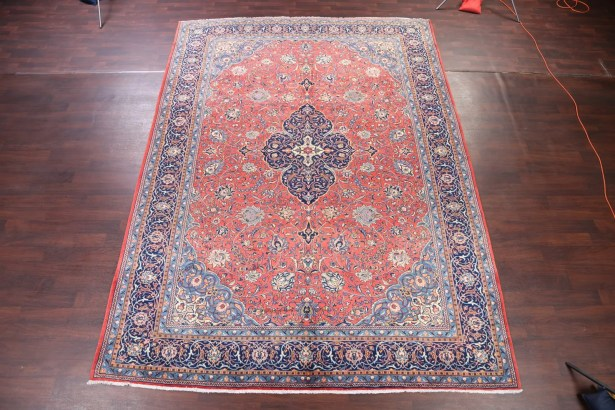 One-of-a-Kind Floral Medallion Sarouk Vintage Persian Hand-Knotted 9'9
