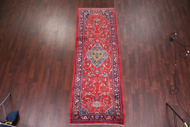One-of-a-Kind Vintage Floral Sarouk Persian Hand-Knotted 3'8