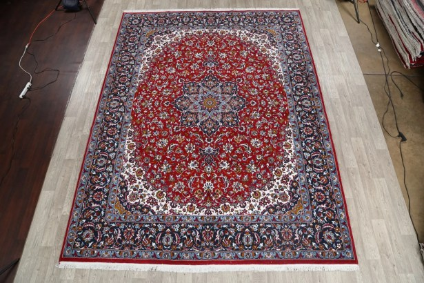 Folsom Soft Plush Floral Kashmar Persian Burgundy/Blue/Navy Blue Area Rug