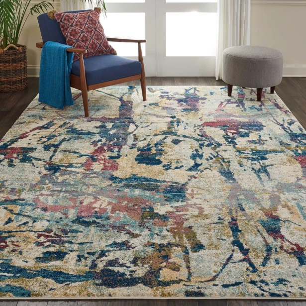 Bellock Abstract Beige/Blue Area Rug Rug Size: Rectangle 7'10