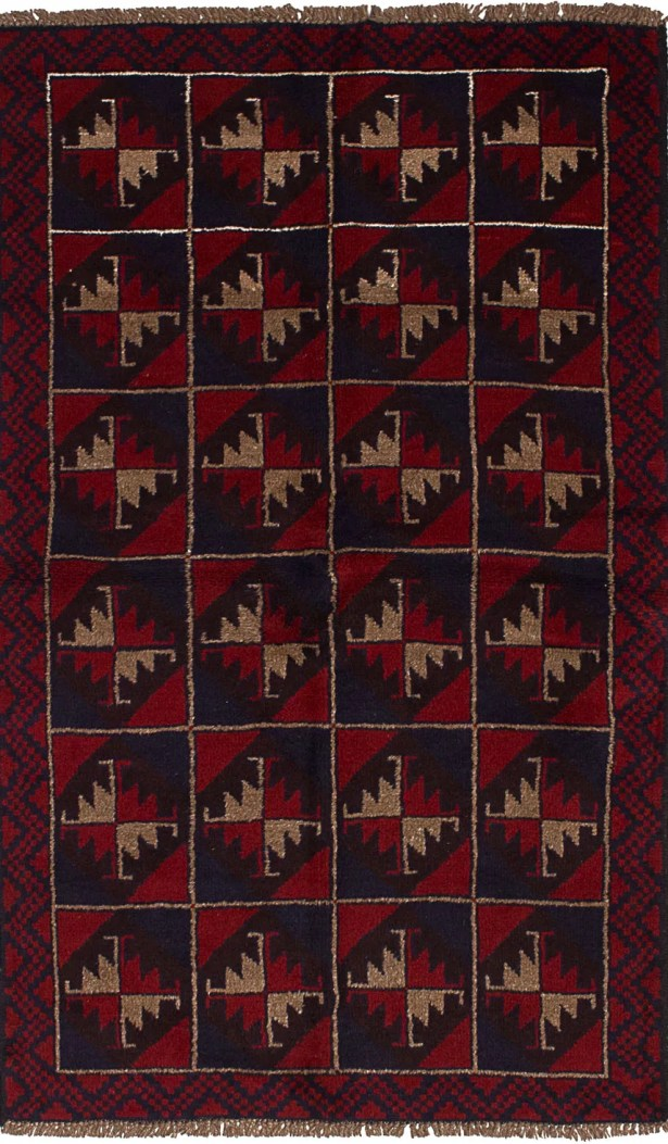 One-of-a-Kind Alanna Hand-Knotted Wool Red/Beige Area Rug