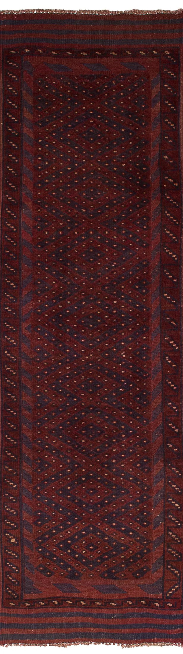 One-of-a-Kind Alarica Hand-Knotted Wool Dark Red Area Rug