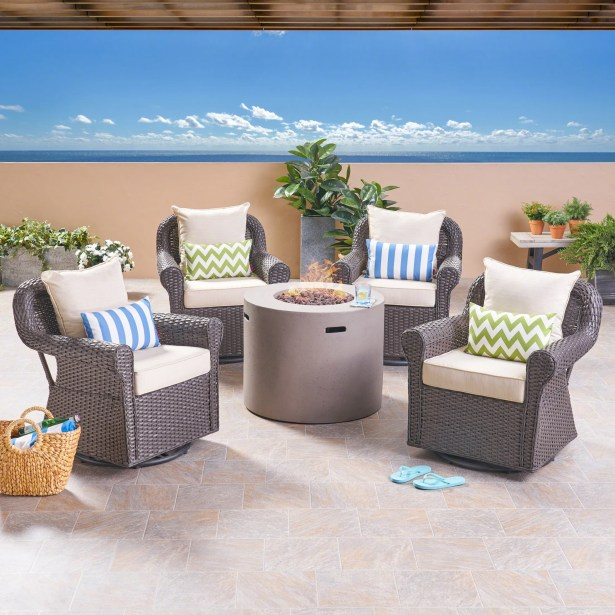 Leber Outdoor 5 Piece Rattan Sofa Seating Group with Cushions Frame Finish: Light Gray