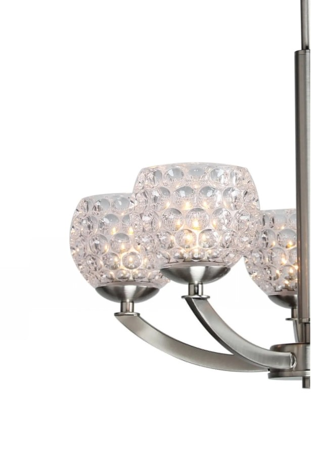 Heavner 5-Light LED Shaded Chandelier Shade Pattern: Clear Crystal Ball, Finish: Nickel