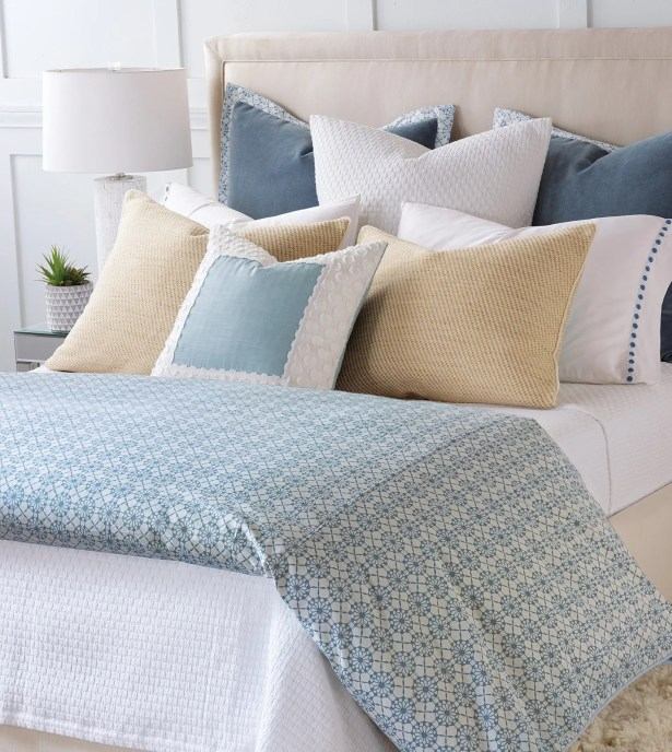 By The Seaside Textured Border Throw Pillow