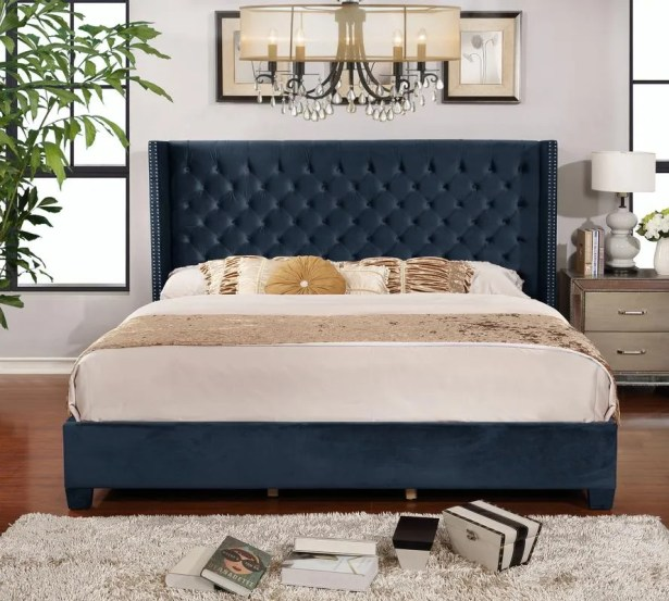 Grijalva Upholstered Panel Bed Color: Blue, Size: King