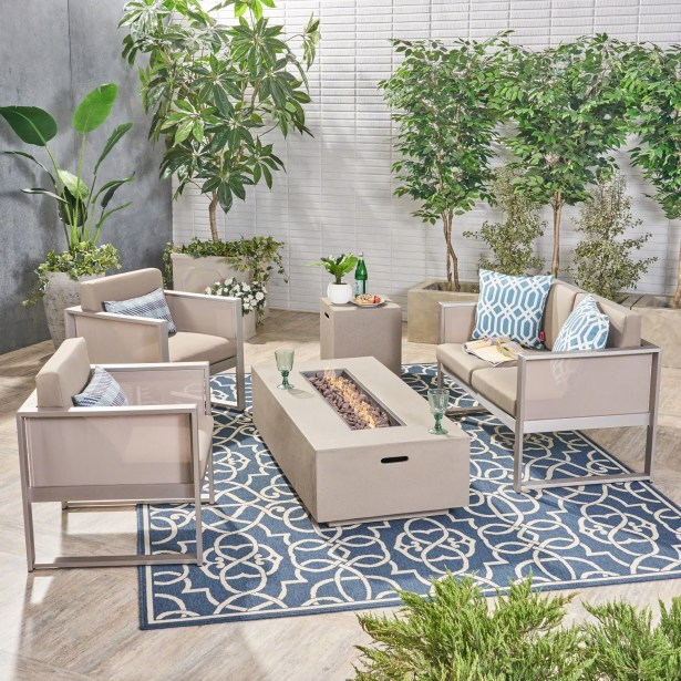 Lancelot 5 Piece Sofa Seating Group with Cushions Frame Finish: Light Gray