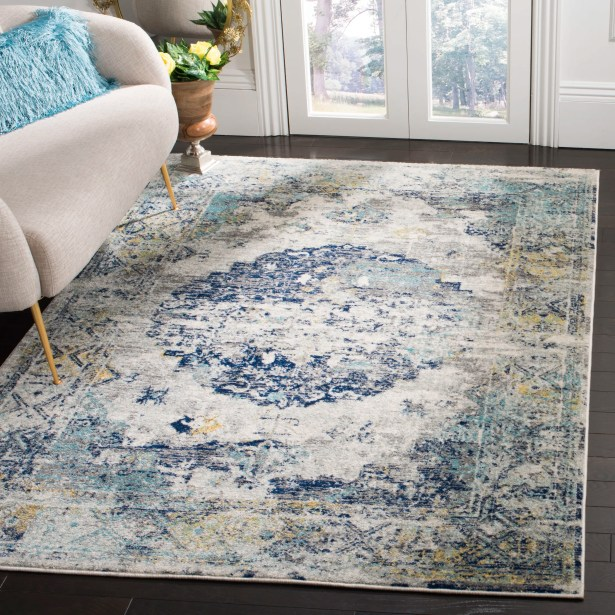 Grieve Light Gray/Blue Area Rug Rug Size: Rectangle 5'3