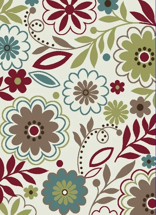 Heimbach Floral Leaves Maroon/Green Area Rug Rug Size: Rectangle 7'10