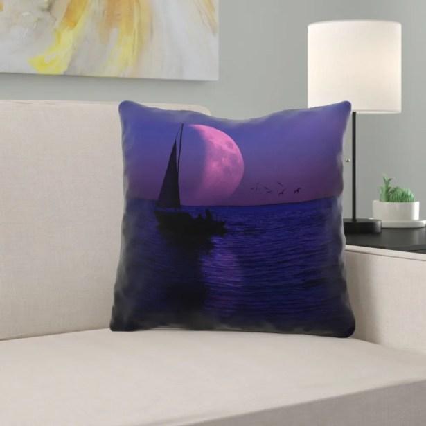 Jada Moon and Sailboat Cotton Throw pillow Size: 16