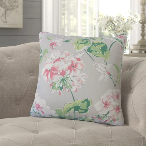 Cesare Floral Down Filled 100% Cotton Throw Pillow Size: 20