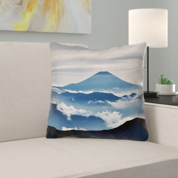 Hashimoto A View of Mt. Fuji Square Throw Pillow Size: 18
