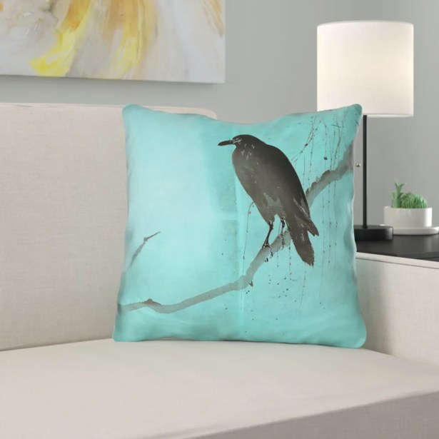 Hansard Crow and Willow Throw Pillow with Zipper Size: 18