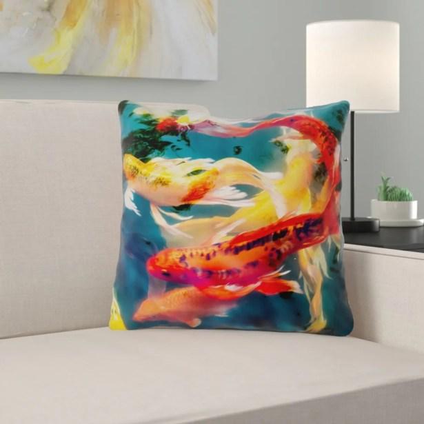 Kalie Koi Pond 100% Cotton Throw Pillow Size: 16