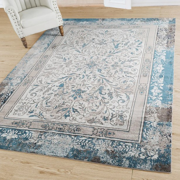 Alexis Leaf Abstract Gray/Blue Area Rug Rug Size: Rectangle 8' x 10'