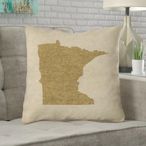 Austrinus Minnesota Canvas Throw Pillow Size: 20