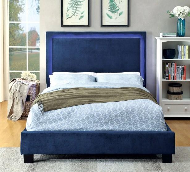Inverness Upholstered Platform Bed Size: Twin, Color: Navy
